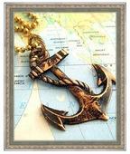 Алмазная живопись Набор алмазной вышивки Якорь на карте (АЖ-1064) 25х31 см