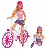 Набор кукол Simba Штеффи и Еви на велосипедах, 29 и 12 см, 5733045