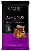 Шоколад Cachet молочный шоколад с миндалем и изюмом 32%