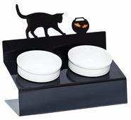 Миска АртМиска для кошек двойная Кот и рыбы на подставке XS 0.35 л