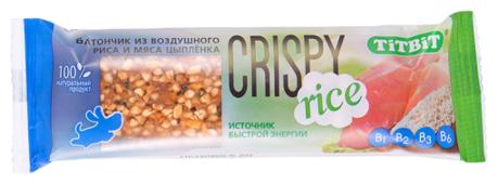 Лакомство для собак Titbit Батончик Crispy Rice из воздушного риса и мяса цыпленка