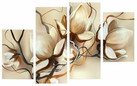 Модульная картина Картиномания Кремовые цветы