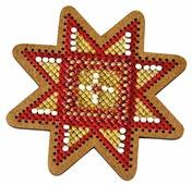 Созвездие Набор для вышивания крестом на основе Новогодняя игрушка Золотая звезда 7,5 х 7,5 см (ИК-006)