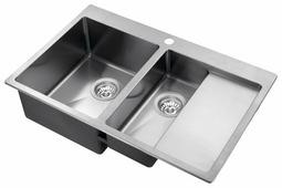 Врезная кухонная мойка AQUASANITA Luna LUN151N-L 78х50см нержавеющая сталь