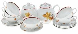 Чайный сервиз Дулёвский фарфор Рубин Осень 14 предметов 023332
