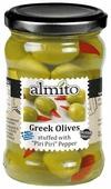Almito Греческие оливки фаршированные острым красным перцем (чили) в рассоле, стеклянная банка 270 г
