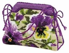 Риолис Набор для вышивания крестом Игольница-сумочка Анютины глазки 11 х 8 см (1039)