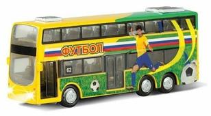 Автобус ТЕХНОПАРК двухэтажный Футбол (CT10-054-6) 16 см
