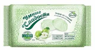 Зефир Умные сладости со стевией со вкусом зеленого яблока 50 г