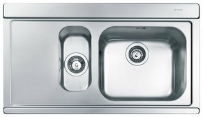 Врезная кухонная мойка smeg LI915S 89.7х51см нержавеющая сталь