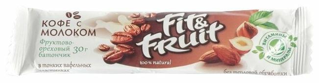Фруктовый батончик Fit&Fruit в тонких вафельных пластинках Кофе с молоком, 30 г
