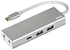 USB-концентратор HAMA Aluminium (00135758), разъемов: 3