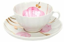 Дулёвский фарфор Чашка чайная с блюдцем Белый лебедь Весенний 275 мл
