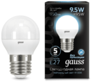 Лампа светодиодная gauss 105102210, E27, G45, 9.5Вт