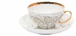 Дулёвский фарфор Чашка чайная с блюдцем Белый лебедь Морозко 275 мл