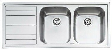 Врезная кухонная мойка smeg LE116S-2 116.8х50.8см нержавеющая сталь