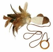 Дразнилка для кошек GiGwi Cat Toys Рыбка с перьями на резинке (75026)