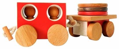 Каталка-игрушка Букашка Паровоз с пассажирским вагоном (BUK.1.4.10)