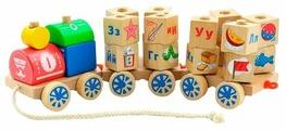Каталка-игрушка Мир деревянных игрушек Паровозик Алфавит (Д222)