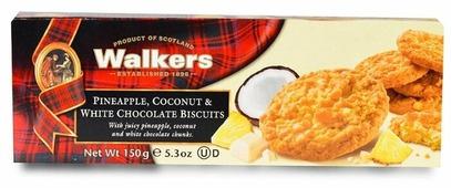 Печенье Walkers с ананасом, кокосом и белым шоколадом 150 г