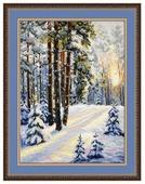 Овен Цветной Вышивка крестом Зимняя дорога 30 х 40 см (727)