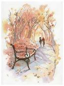 М.П.Студия Набор для вышивания Акварель Осенний променад 20 x 27 см (а-003)