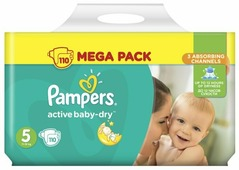 Pampers подгузники Active Baby-Dry 5 (11-18 кг) 110 шт.