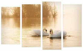 Модульная картина Картиномания Лебеди на пруду