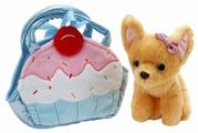 Мягкая игрушка Играем вместе Собака чихуахуа в голубой сумочке в виде кекса 19 см