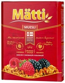 Мюсли Matti хлопья с ежевикой и малиной, коробка