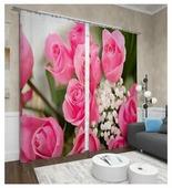 Фотошторы Сирень Крупные розы (ФШБЛ001-13587) на ленте 260 см