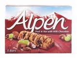 Злаковый батончик Alpen с молочным шоколадом, изюмом, орехами 5 шт, 145 г