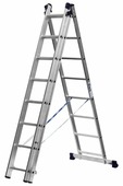 [Лестницы, стремянки] Лестница СИБИН универсальная, трехсекционная со стабилизатором, 8 ступеней [38833-08]