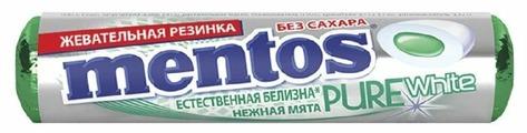 Жевательная резинка MENTOS Pure white Нежная мята без сахара 16 г