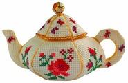 ZENGANA Набор для вышивания бисером и нитками Чайничек Розы 14 х 8 см (М-057)