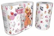 Полотенца бумажные World Cart Kartika Collection Animal cuties белые с рисунком двухслойные