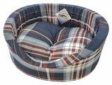 Лежак для кошек, для собак Бобровый Дворик с бортиком Шотландка синяя №1 42х35х16 см