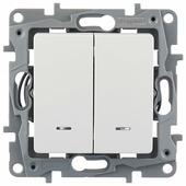 Выключатель 2х1-полюсный Legrand Etika 672204,10А, белый