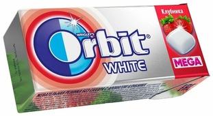 Жевательная резинка Orbit White Mega Клубника, 16.4 г