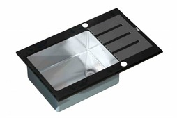 Врезная кухонная мойка ZorG Inox Glass GL-7851 BLACK 78х51см нержавеющая сталь