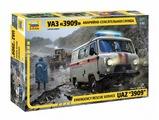 Сборная модель ZVEZDA УАЗ 3909 Аварийно-спасательная служба (43002) 1:43