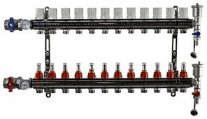 """Коллекторная группа Tim (KA012) 1"""", 12 вых., расходомер, воздухоотводчик, сливной кран, термометр"""