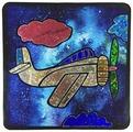 Color Kit Самолетик в облаках-аппликация цветной фольгой (MH002)