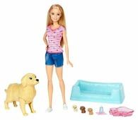 Кукла Barbie и собака с новорожденными щенками, 29 см, FDD43