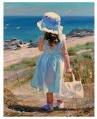 Алмазная живопись Набор алмазной вышивки Девочка у моря (АЖ-1118) 40х51 см
