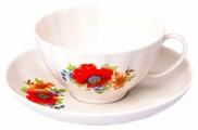 Дулёвский фарфор Чашка чайная с блюдцем Белый лебедь Полевой мак 275 мл
