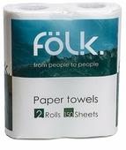 Полотенца бумажные Folk белые двухслойные