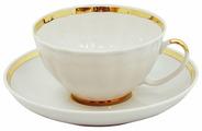 Дулёвский фарфор Чашка чайная с блюдцем Белый лебедь Московский с лентой 275 мл