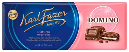 Шоколад Fazer Karl Fazer Domino молочный с печеньем из какао и крошкой со вкусом ванили, 30% какао