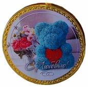 Фигурный шоколад КОРТЕС Шоколадные медали Мишка из роз, молочный шоколад, 25 г
